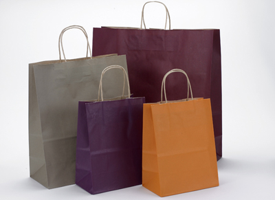 Tint Colored on Kraft Twisted Handle Shopping Bags