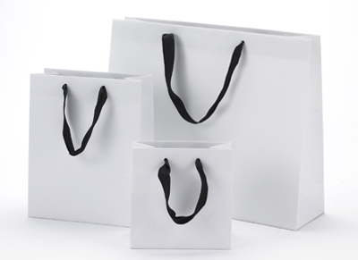 White Matte Euro Shoppers with Ribbon Handle