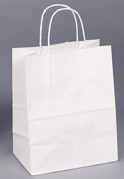 Gloss White Twisted Handle Shopping Bags