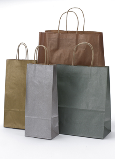 Metallic Twisted Handle Shopping Bags