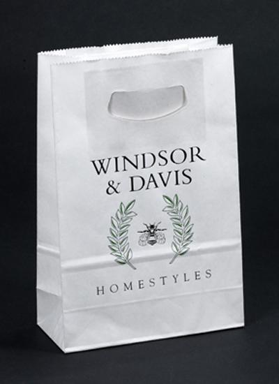 Printed White Paper Bags with Die Cut Handle