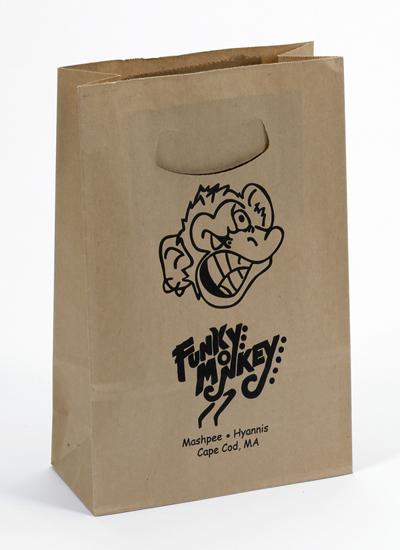 Printed Kraft Paper bags with Die Cut Handle