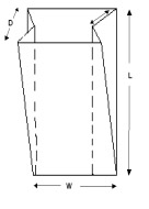 gusseted plastic bag liner size diagram